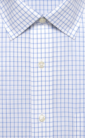 Wilkes & Riley Light Blue Tattersal Spread Collar Alt