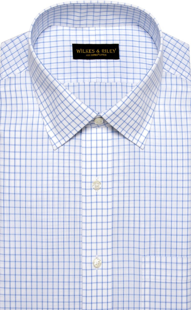 Wilkes & Riley Light Blue Tattersal Spread Collar