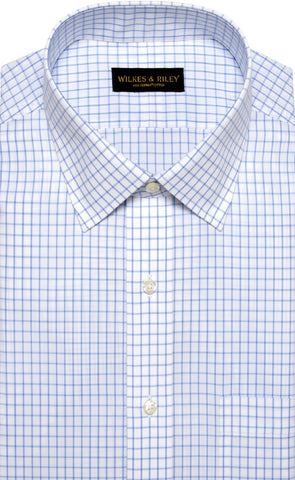 Tailored Fit Blue Large Check Spread Collar  Supima® Cotton Non-Iron Broadcloth Dress Shirt