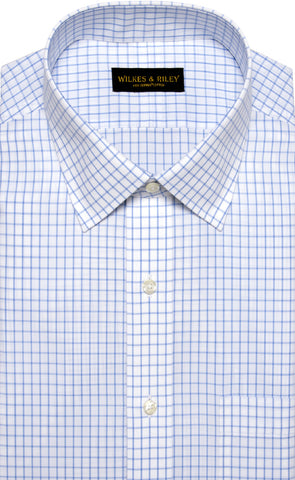 Classic Fit Blue Large Check Spread Collar Supima® Cotton Non-Iron Broadcloth Dress Shirt