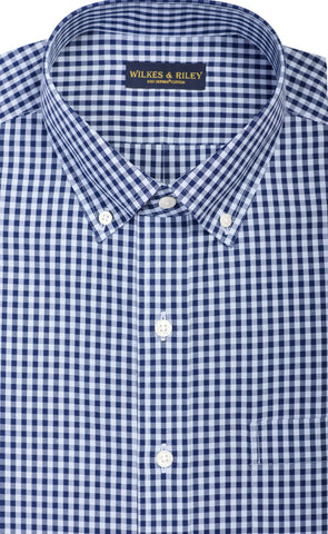 Classic Fit Sky / Navy Large Gingham Check Button-Down Collar Supima® Non-Iron Cotton Broadcloth Sport Shirt