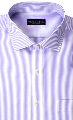 Tailored Fit Lavender Bengal Stripe English Spread Collar  Supima® Cotton Non-Iron Broadcloth Dress Shirt