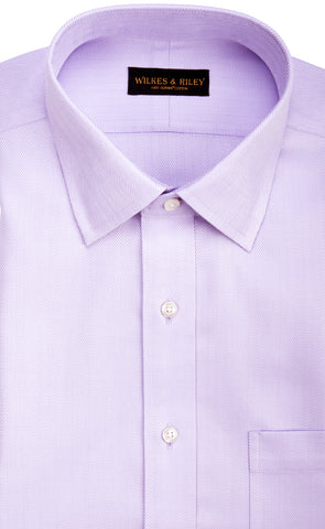 Classic Fit Lavender Herringbone Spread Collar Supima® Cotton Non-Iron Dress Shirt