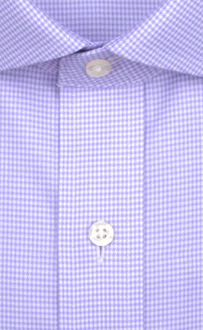 Wilkes & Riley Lavender Houndstooth Twill English Spread Collar Alt