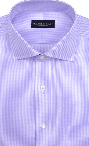 Tailored Fit Purple Houndstooth English Spread Collar Supima® Cotton Non-Iron Twill Dress Shirt