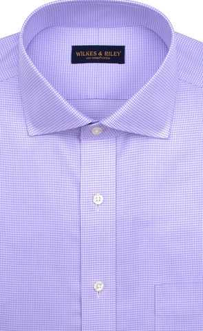 Classic fit Purple Houndstooth English Spread Collar Supima® Cotton Non-Iron Twill Dress Shirt