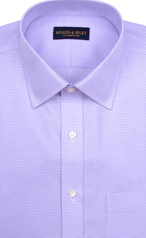Slim Fit Purple Houndstooth Spread Collar Supima® Cotton Non-Iron Twill Dress Shirt