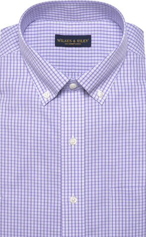 Tailored Fit Purple Plaid Button-Down Collar Supima® Cotton Non-Iron Broadcloth Dress Shirt