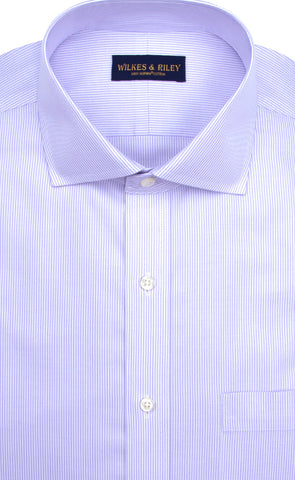 Slim Fit Purple Stripe English Spread Collar Supima® Cotton Non-Iron Twill Dress Shirt