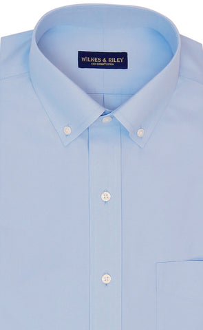 Tailored Fit Light Blue Solid Button-Down Collar Supima® Cotton Non-Iron Pinpoint Oxford Dress Shirt