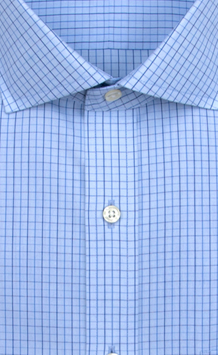 eb2302565fd Wilkes and Riley Slim Fit Light Blue Ground Navy Check English Spread  Collar Alt