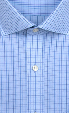 Wilkes and Riley Slim Fit Light Blue Ground Navy Check English Spread Collar Alt