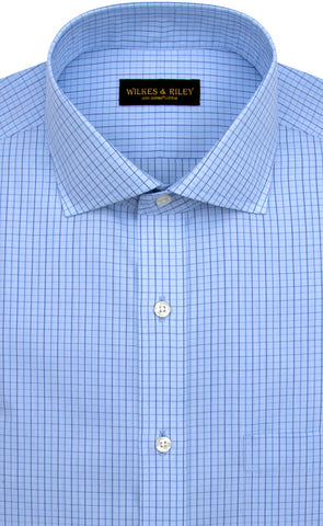 Slim Fit Light Blue Ground Navy Check English Spread Collar Supima® Cotton Non-Iron Broadcloth