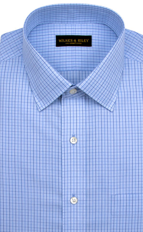Tailored Fit Light Blue Ground Navy Check Spread Collar  Supima® Cotton Non-Iron Broadcloth