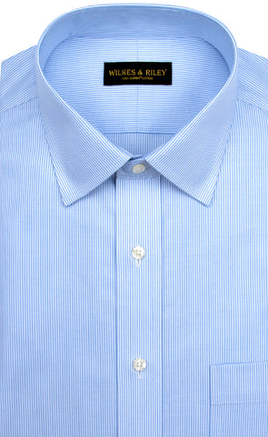 Tailored Fit Blue Stripe Spread Collar Supima® Cotton Non-Iron Twill Dress Shirt