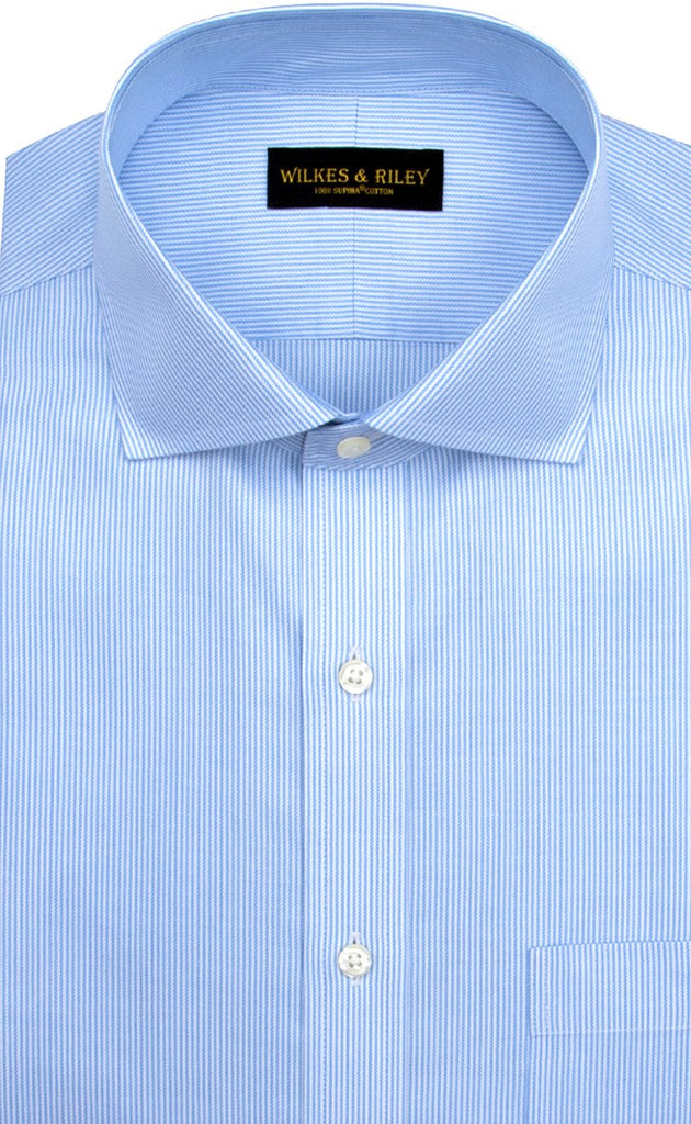 Wilkes and Riley Tailored Fit Blue Stripe English Spread Collar Supima® Cotton Non-Iron Twill Dress Shirt