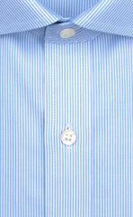 Wilkes and Riley Tailored Fit Blue Stripe English Spread Collar Supima® Cotton Non-Iron Twill Dress Shirt Alt