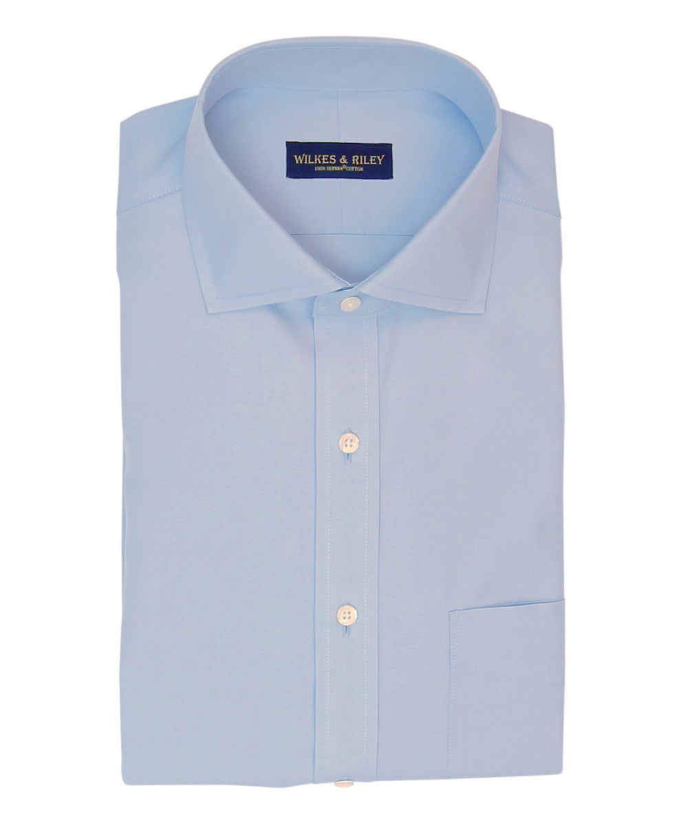 Wilkes and Riley Slim Fit Light Blue Solid English Spread Collar Supima® Cotton Non-Iron Pinpoint Oxford Dress Shirt