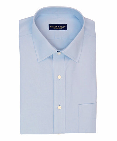 Slim Fit Light Blue Solid Spread Collar Supima® Cotton Non-Iron Pinpoint Oxford Dress Shirt