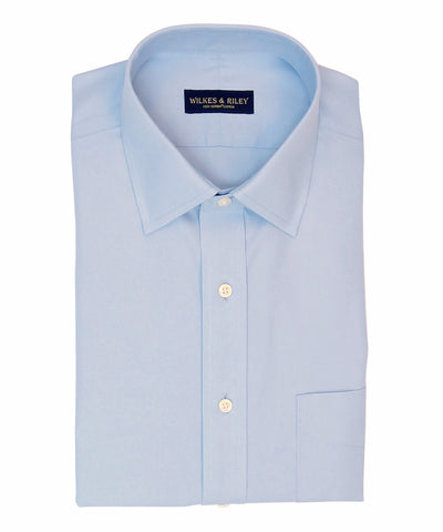Tailored Fit Light Blue Solid Spread Collar Supima® Cotton Non-Iron Pinpoint Oxford Dress Shirt