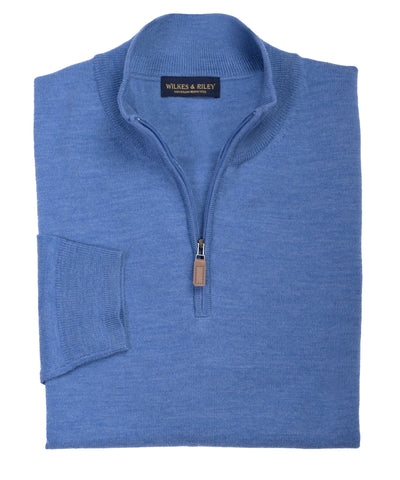 Ultra-fine Zegna Baruffa Half-Zip Merino Wool Sweater - Light Blue