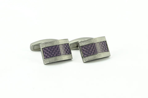 Purple Carbon Fiber Rectangle Cufflinks