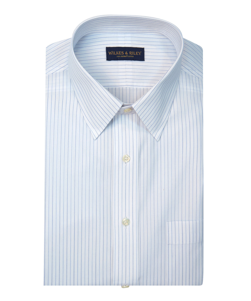 Wilkes and Riley Tailored Fit Alternating Stripe Point Collar Supima® Cotton Non-Iron Broadcloth Dress Shirt