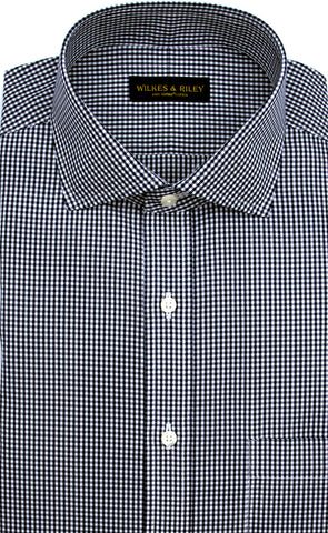 Slim Fit Navy Gingham English Spread Collar Supima® Cotton Non-Iron Broadcloth Dress Shirt