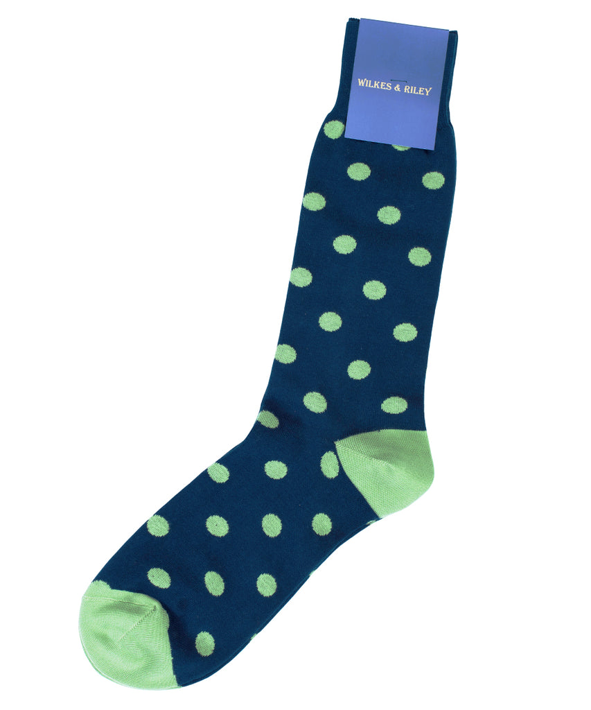 Navy Large Dot Cotton Sock - Mid Calf