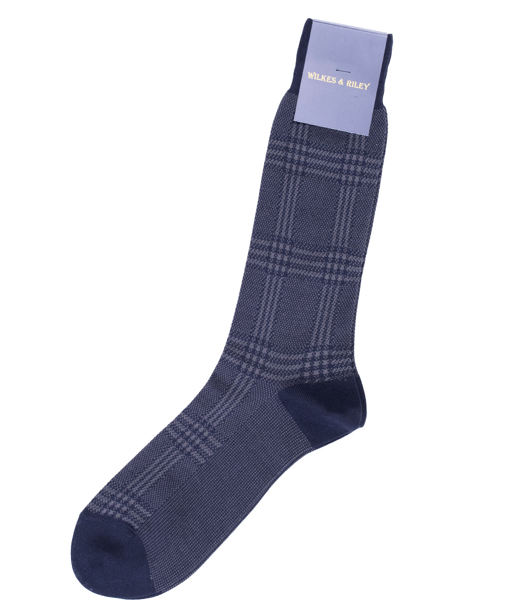 Navy Large Plaid Egyptian Cotton - Mid Calf Sock