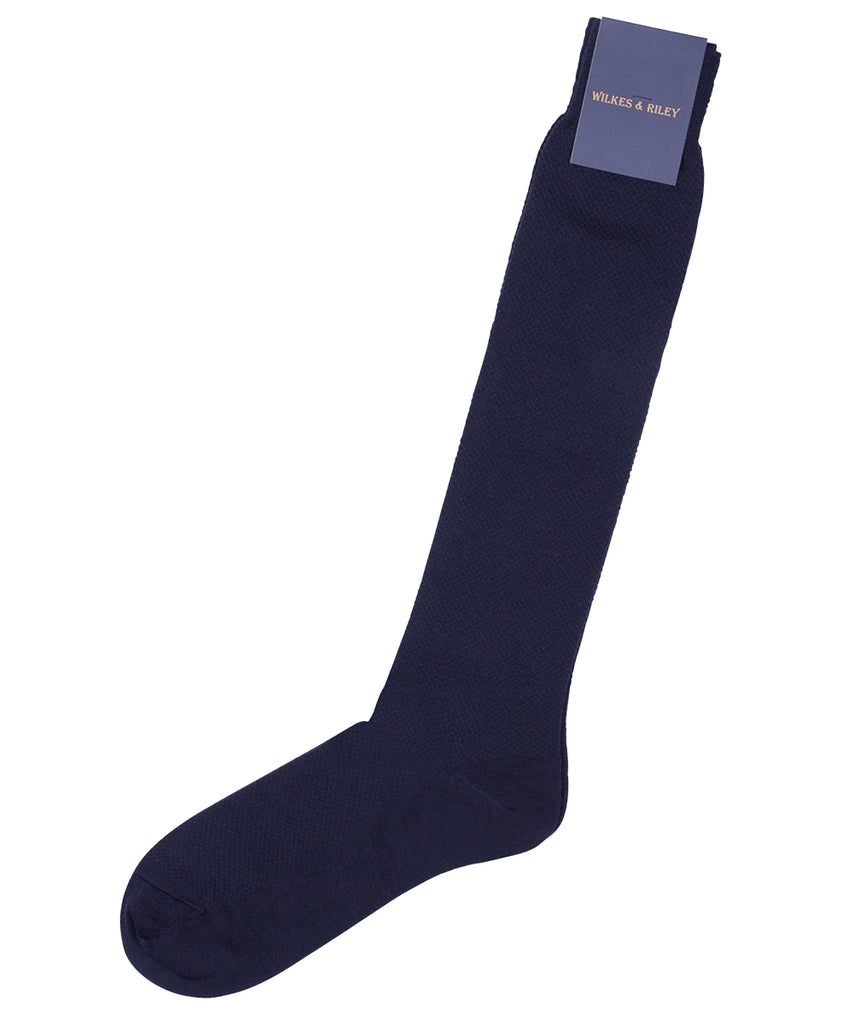 Navy Birdseye Merino Wool Socks - Over The Calf