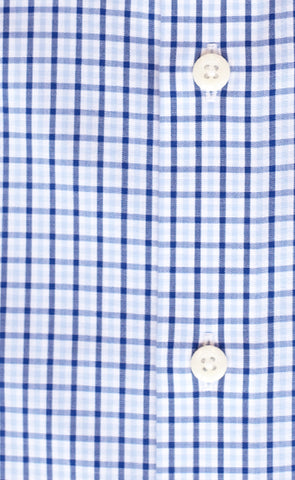 Tailored Fit Sky / Navy Tattersall check English Spread Collar Supima® Non-Iron Cotton Broadcloth Sport Shirt