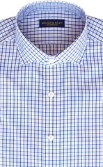Tailored Fit Sky / Navy Tattersall check English Spread Collar Supima® Non-Iron Cotton Broadcloth Sport Shirt (B/T)