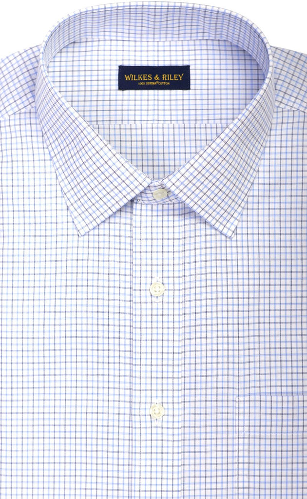 Wilkes & Riley Navy & Sky Poplin Spread Collar