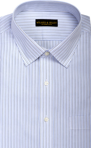 Slim Fit Blue & Navy Multi Stripe Spread Collar  Supima® Cotton Non-Iron Broadcloth Dress Shirt