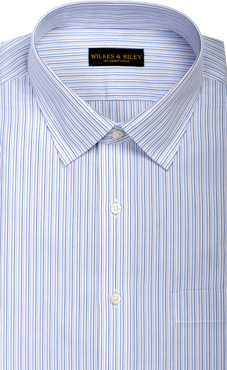 Wilkes & Riley Blue Multi Stripe Spread Collar