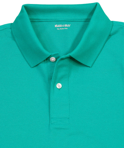 Green Piqué Two-Button Polo