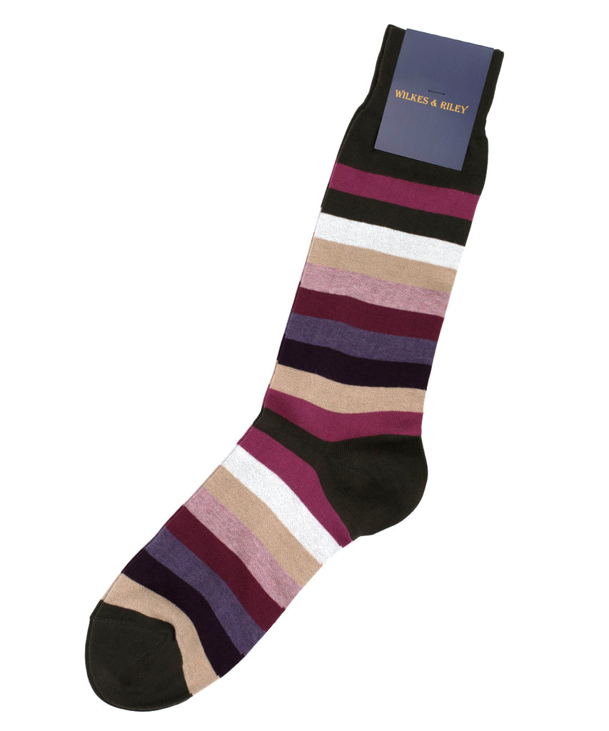 Olive Multi Bar Stripe Cotton Sock - Mid Calf
