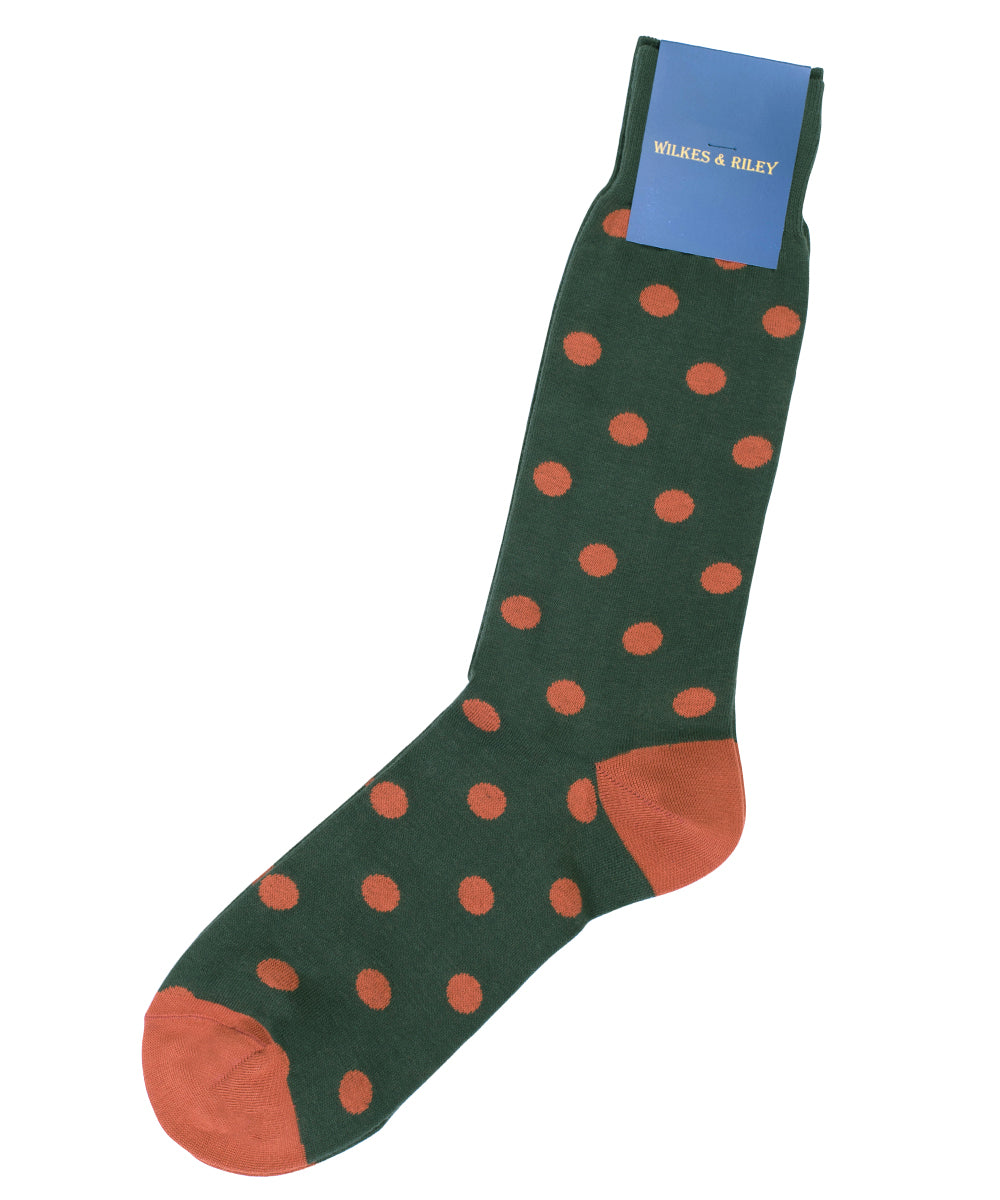 Green Large Dot Cotton Sock - Mid Calf
