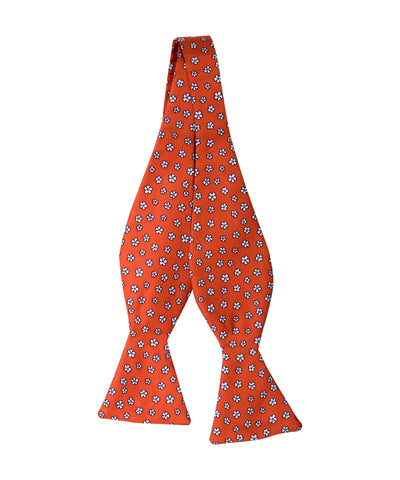 Orange Floral Self Bow Tie