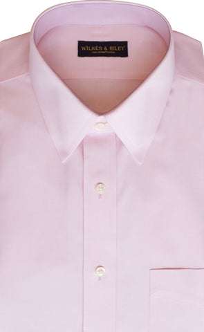 Classic Fit Pink Solid Point Collar Supima® Cotton Non-Iron Pinpoint Oxford Dress Shirt