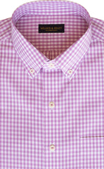 Tailored Fit Pink Gingham Check Button-Down Collar Supima® Non-Iron Cotton Broadcloth Sport Shirt