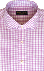Slim Fit Pink Gingham English Spread Collar Supima® Cotton Non-Iron Broadcloth Dress Shirt