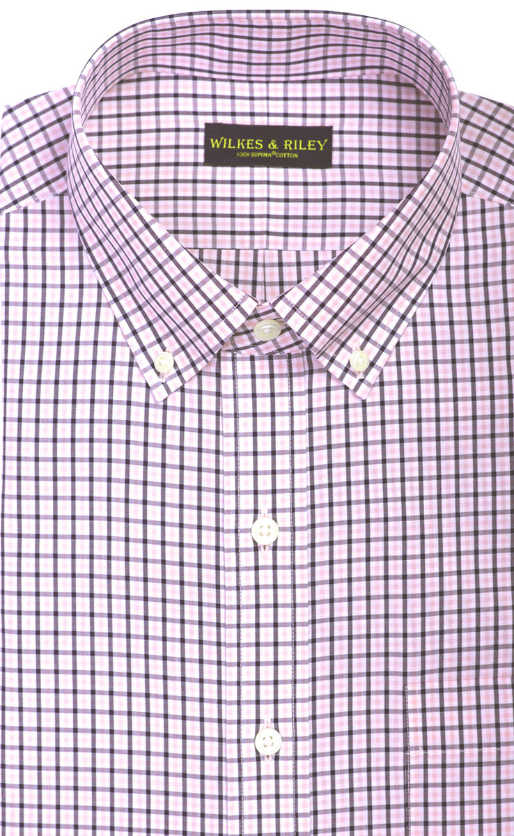 Wilkes & Riley Pink & Navy Tattersall Button Down Slim Fit Sport Shirt