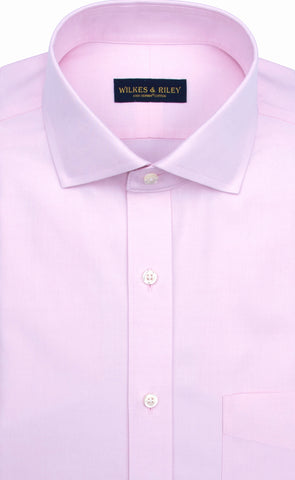 Slim Fit Pink Solid English Spread Collar Supima® Cotton Non-Iron Pinpoint Oxford Dress Shirt