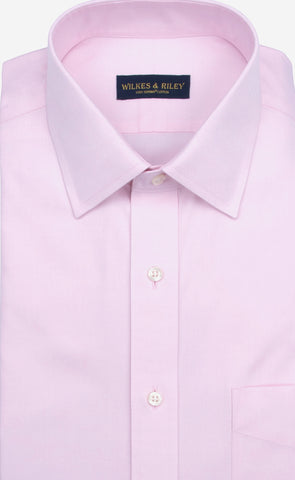 Tailored Fit Pink Solid Spread Collar Supima® Cotton Non-Iron Pinpoint Oxford Dress Shirt
