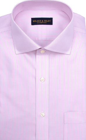 Slim Fit Pink Stripe English Spread Collar Supima® Cotton Non-Iron Twill Dress Shirt