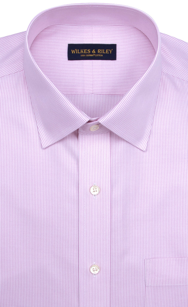 Wilkes & Riley Pink Twill Stripe Spread Collar