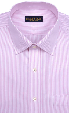 Tailored Fit Pink Stripe Spread Collar Supima® Cotton Non-Iron Twill Dress Shirt