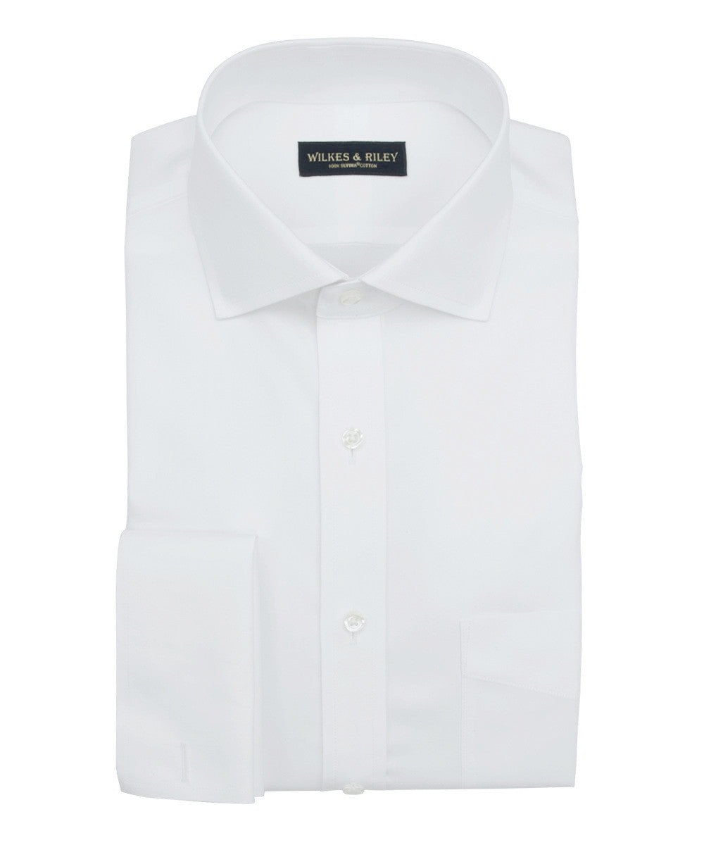 Wilkes and Riley Tailored Fit White Royal Oxford English Spread Collar French Cuff Supima® Cotton Non-Iron Dress Shirt